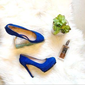 NWOB Vince Camuto Deba blue suede heels